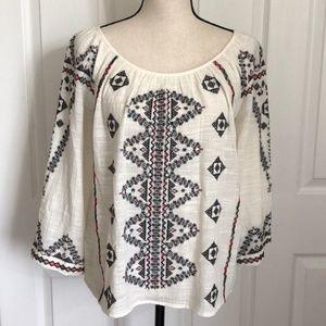 Anthropology Love Sam Embroidered Gauzy Cotton Top